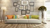 foto of beauty salon interior  - living room or saloon interior design with photo frames 3d rendering - JPG