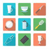 various flat style dinnerware icons set