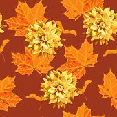 seamless pattern of maple tree leave  and flower
