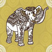elephant and mehendi ornament