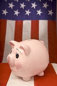 Piggy Bank With American Flag