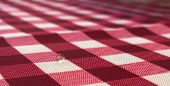 Water Drop On A Red Checkered Tablecloth