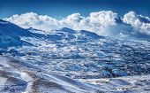 Beautiful winter mountains, majestic snowy landscape, ski resort, Christmas greeting card, beauty of wintertime nature