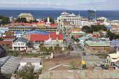 View of Punta Arenas and Magellan strait, Punta Arenas, Chile.