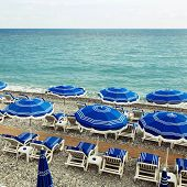 Sunshades On The Beach In Nice, Cote D'azur, France