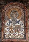 BUDVA, MONTENEGRO - JUNE 09, 2012: Icon-Mosaic, St. Peter of Cetinje, on the wall in Budva, Montenegro, on June 09, 2012