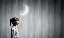 image of goodnight  - Side view of cute girl with closed eyes - JPG