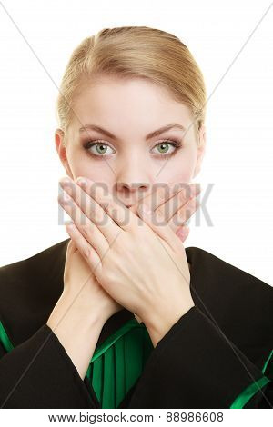 Womn Lawyer Attorney Covering Mouth