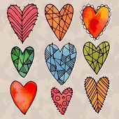 pic of drow  - Set of watercolor hearts with hand drow graphic patterns on them - JPG