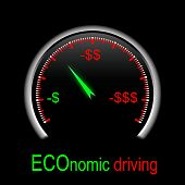 speedometer showing low speed to reduce consumption