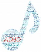 foto of prone  - ADHD musical note shaped word cloud on a white background - JPG
