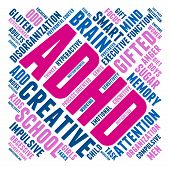 picture of prone  - ADHD word cloud on a white background - JPG