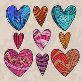 foto of drow  - Set of watercolor hearts with hand drow graphic patterns on them - JPG