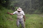 image of vaquero  - Costa Rican ranch hand with a machete - JPG