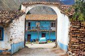 stock photo of hacienda  - Entrance to a historic colonial hacienda in Tarma Peru - JPG