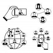 foto of people talking phone  - set of 4 social network concept - JPG