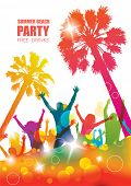 stock photo of colorful banner  - Party background with happy young people - JPG