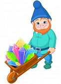 picture of wheelbarrow  - Illustration of gnome carries a wheelbarrow full of quartz crystals - JPG