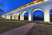 picture of aqueduct  - Rostokino aqueduct in the evening Moscow Russia - JPG