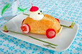 image of driver  - Funny bun car for kids with egg driver - JPG