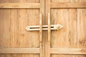 picture of wooden door  - Ancient door latch Traditional ancient wooden door latch - JPG