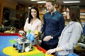 foto of robotics  - Young people working in the robotics classroom - JPG