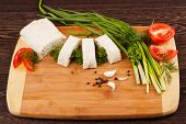 image of pita  - pita bread with green onion and tomato on a wooden table - JPG