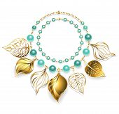 picture of beads  - necklace of gold chain green beads and gold leaves - JPG