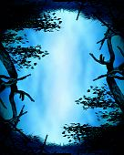 stock photo of fairy-tale  - frame of branches on an abstract background - JPG