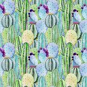 picture of peyote  - Beautiful vector pattern with nice watercolor cactus peyote - JPG
