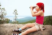 picture of spyglass  - funny little girl in a bandana with a spyglass - JPG