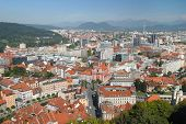 Aerial View On A City Ljubljana poster