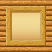 picture of timber  - Wooden Frame with Empty Paper on a Timbered Wall - JPG