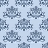 picture of indian blue  - Stylized indian lotus seamless pattern background in shades of blue color decorated with traditional paisley ornamental elements - JPG