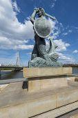 pic of mermaid  - Statue of Mermaid symbol of Warsaw on the Vistula Riverbank in Warsaw Poland - JPG