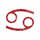 pic of cancer horoscope icon  - Red grunge Cancer logo on a white background - JPG