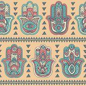 pic of hamsa  - Vector Indian hand drawn hamsa symbol seamless pattern - JPG