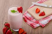 picture of smoothies  - Strawberry smoothie nice and clean fresh fruits leaf of mint - JPG