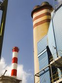 stock photo of chimney  - construction of the chimney and the chimney before your install desulfurization - JPG