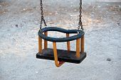 foto of swing  - Wooden swing in a park - JPG