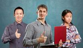 stock photo of job well done  - Team and man with laptop in his hands and woman shows well done - JPG