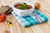 pic of boeuf  - beef in a goulash stew served on the table - JPG