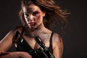 picture of sniper  - Riot girl with sniper gun close up portrait - JPG