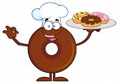 picture of donut  - Chef Chocolate Donut Cartoon Character Serving Donuts - JPG
