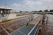 pic of aeration  - Wastewater treatment plant aerating basin - JPG