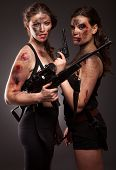 pic of girls guns  - Group of sexy woman like riot woman - JPG