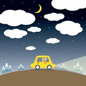 image of single woman  - Single Woman Drive A Car In The Night Illustration - JPG