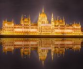 image of hungarian  - View of hungarian Parliament building at night in Budapest - JPG