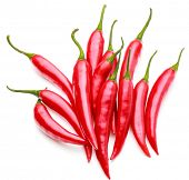 stock photo of chillies  - red chili or chilli cayenne pepper isolated on white  background cutout - JPG