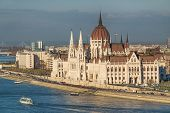 foto of hungarian  - View of hungarian Parliament building at day in Budapest - JPG